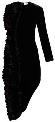 A.W.A.K.E. Mode Ruffled Asymmetric Velvet Midi Dress - Womens - Black
