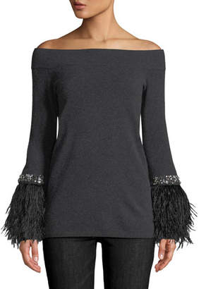 Neiman Marcus Cashmere Feather-Embellished Off-the-Shoulder Sweater