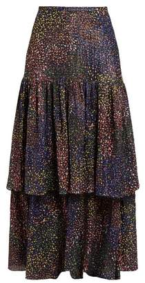 Chloé Abstract Print Voile Maxi Skirt - Womens - Navy Multi