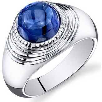 Oravo 6.50 Carat T.G.W. Men's Created Blue Sapphire Rhodium-Plated Sterling Silver Engagement Ring