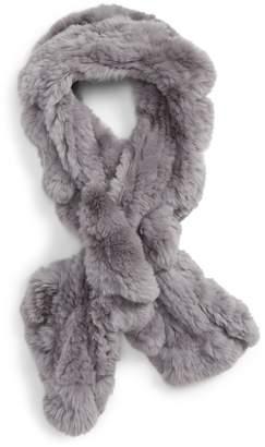 Toria Rose Genuine Rabbit Fur Ruffle Scarf