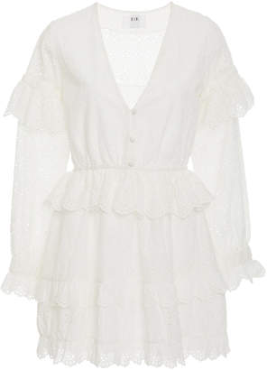 SIR the Label Amelie Ruffled Broderie Anglaise Mini Dress