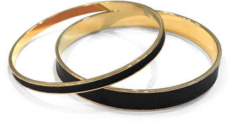 Tuleste Black & Gold Enamel Channel Bangle (Set of 2)