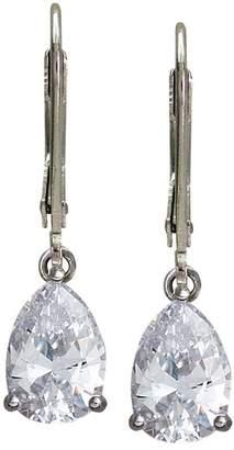 Diamonique 4 cttw Pear Cut Lever Back Earrings, Platinum Clad