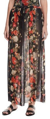 Fuzzi Floral Tulle Double-Slit Coverup Maxi Skirt, Black $295 thestylecure.com