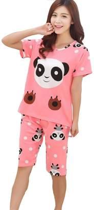 32a59534d WANRU Women's Big/Teen Girls Cute Panda Short Sleeves Sleepwear PJS Pajama  Set Nighty