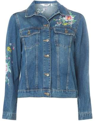 Dorothy Perkins Womens Midwash Blue Floral Embroidered Denim Jacket