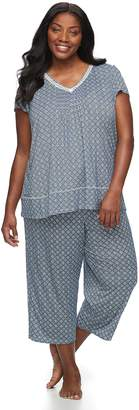 Croft & Barrow Plus Size Printed Tee & Capri Pajama Set