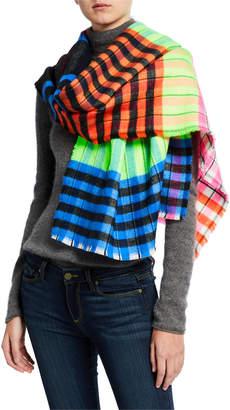 Collection XIIX Check Stripe Blanket Fringe Wrap Scarf