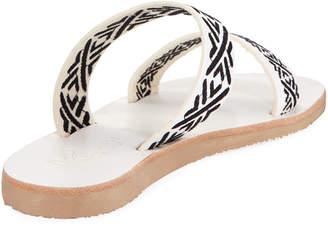 Joie Sable Stitched Slide Flat Sandals, Black