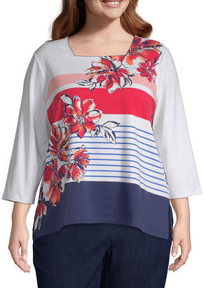 Alfred Dunner In the Navy Stripe Flowers Top - Plus