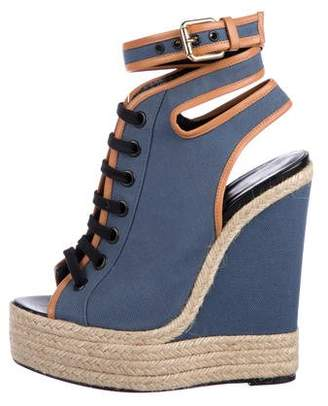 Pierre Hardy Denim Lace-Up Wedges