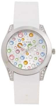 GUESS Analog Crystal Dial Silicone Strap Watch