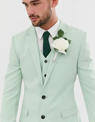 Asos Design ASOS DESIGN wedding super skinny suit jacket in green cross