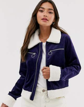 Glamorous faux suede jacket with borg trim