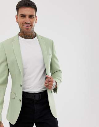Asos Design DESIGN super skinny blazer with waffle texture in mint green