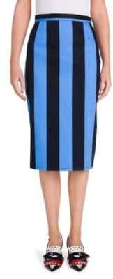 Prada Striped Denim Pencil Skirt