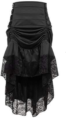 46bb78aa2 Charmian Women's Steampunk Victorian Gothic High Waist Lace Trim Ruffled  High Low Bustle Skirt Large