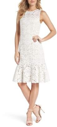 Eliza J Flounce Laser Cut Scuba Dress
