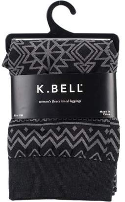 K. Bell Aztec Print Fleece Lined Leggings - Black - Small/Medium