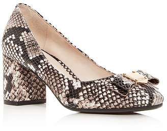Cole Haan Women's Tali Snake-Embossed Leather Block-Heel Pumps