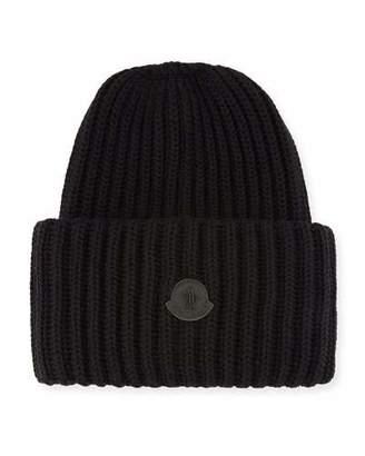 fbf744a3cc6 ... Moncler Men s Oversized Ribbed Logo Beanie Hat