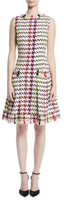 Oscar de la Renta Sleeveless Multi-Check Silk Dress w/ Tweed Trim