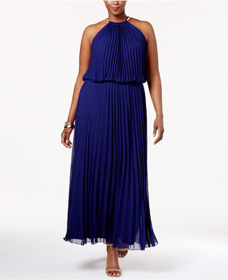 Msk Plus Size Pleated Halter Gown $129 thestylecure.com
