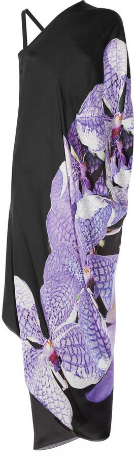 Roberto Cavalli Asymmetric printed silk-chiffon gown