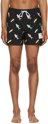 Thom Browne Black Classic Shark & Surfboard Swim Shorts $550 thestylecure.com