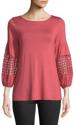 Neiman Marcus Crochet Balloon-Sleeve Jersey Tee