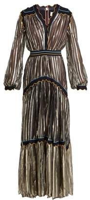 Peter Pilotto Metallic Tiered Silk Blend Chiffon Gown - Womens - Gold