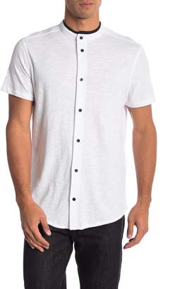 Karl Lagerfeld Short Sleeve Knit Button Down Henley Tee