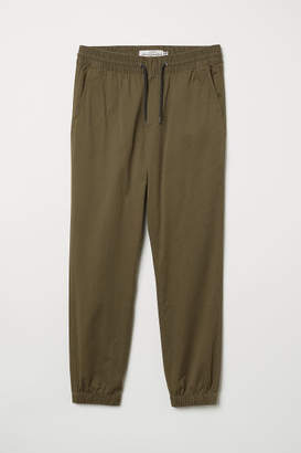 H&M Brushed Cotton Twill Joggers - Green