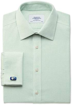 Charles Tyrwhitt Extra Slim Fit Non-Iron Imperial Weave Light Green Cotton Dress Shirt Single Cuff Size 15/34