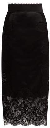 Dolce & Gabbana Lace Panelled Satin Pencil Skirt - Womens - Black