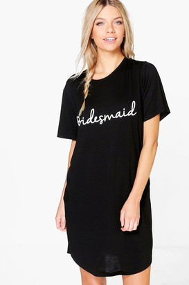 boohoo 'The Bridesmaid' Slogan Bridal Sleep Tee