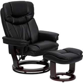 Flash Furniture Deluxe Contemporary Leather Recliner and Ottoman with Swiveling Wood Base, Multiple Colors