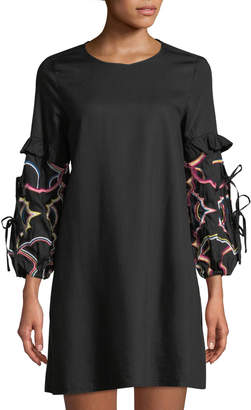Catherine Malandrino Embroidered-Sleeve A-line Dress