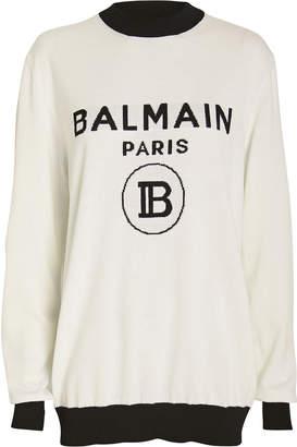 Balmain Wool & Cashmere Logo Sweater