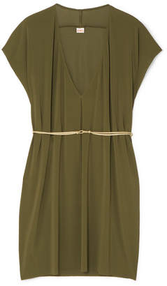 Eres Belted Stretch-jersey Mini Dress - Army green