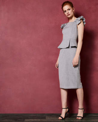 Ted Baker DAIZID Pleated shoulder peplum dress