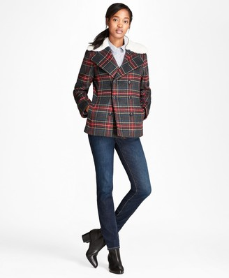 Brooks Brothers Tartan Wool-Blend Double-Breasted Coat