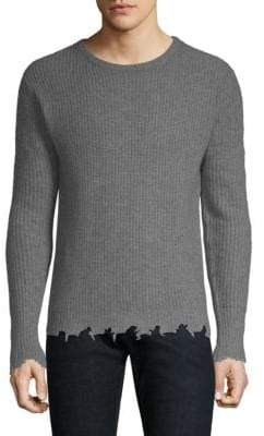 The Kooples Distressed-Trim Cashmere Pullover