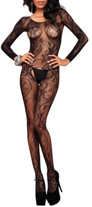 Leg Avenue Women's Sexy Crotchless Floral Lace Bodystocking