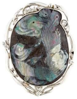 Diamond & Boulder Opal Pendant Brooch