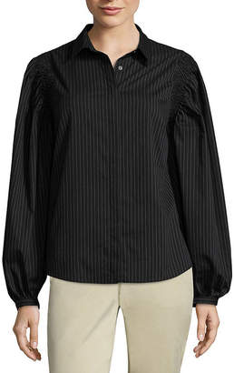 WORTHINGTON Worthington Smocked Shoulder Button Front Shirt