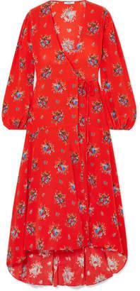 Ganni Kochhar Floral-print Washed-silk Wrap Dress - Red