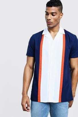 boohoo Colour Block Short Sleeve Revere Shirt