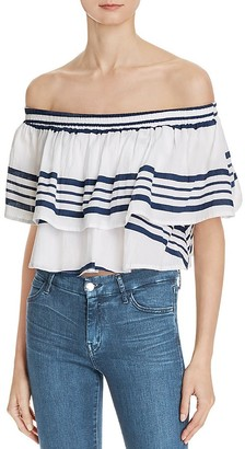 Faithfull the Brand Off-the-Shoulder Crop Sundown Top $99 thestylecure.com